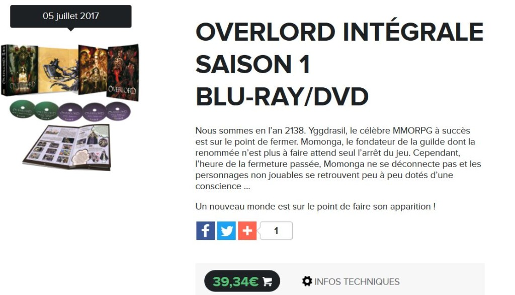overlord saison 1 blu ray