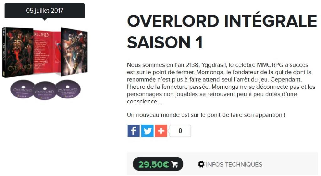 overlord saison 1 dvd